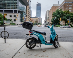 Parked Blue Scooter
