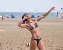 Woman Hitting the Volleyball