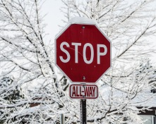 Stop sign after ice storm