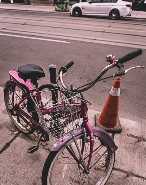 wbparked pink bike