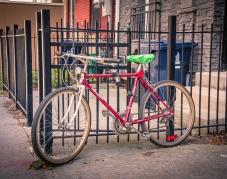 wbparkedRed bike